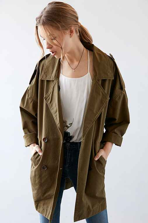 Silence + Noise Izzy Longline Trench Coat,GREEN GARLAND,XS