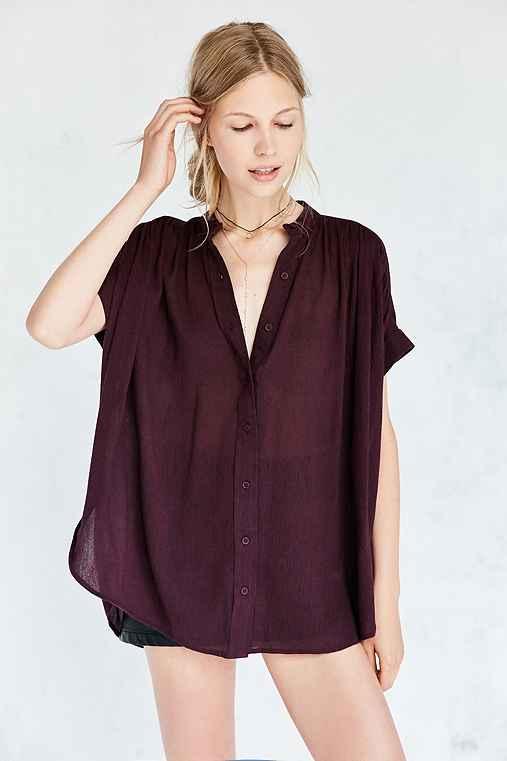 Ecote Annie Gauzy Button-Front Tunic Blouse,DARK PURPLE,S