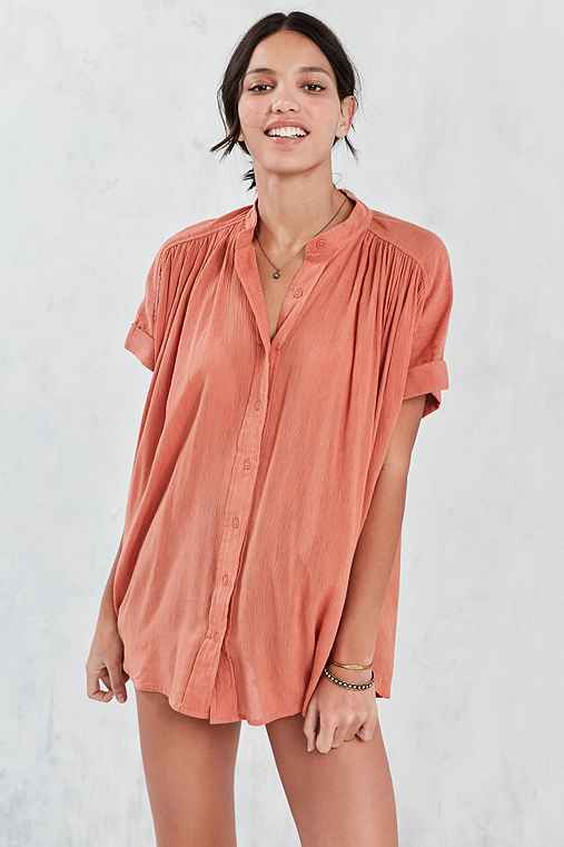 Ecote Annie Gauzy Button-Front Tunic Blouse,RUST,M