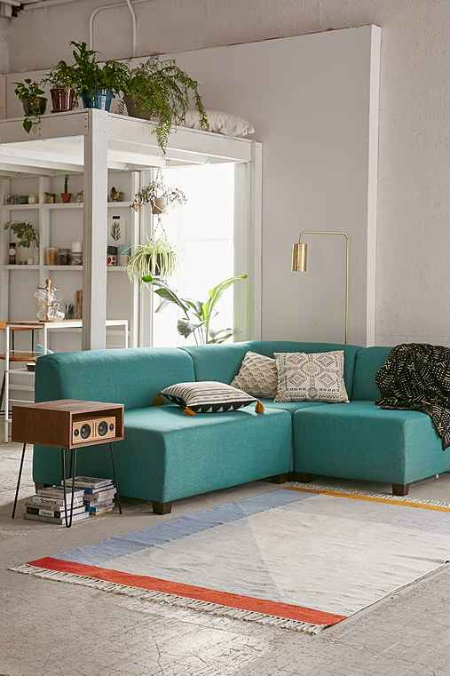 Elliot Custom Sectional Sofa,TURQUOISE,ARMLESS CHAIR
