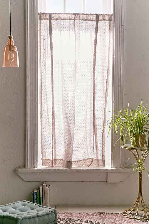 Swiss Dot Draped Shade Curtain,GREY,52X63