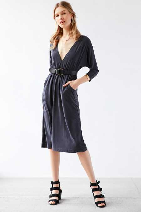 Silence + Noise Dolman-Sleeve Cupro Midi Dress