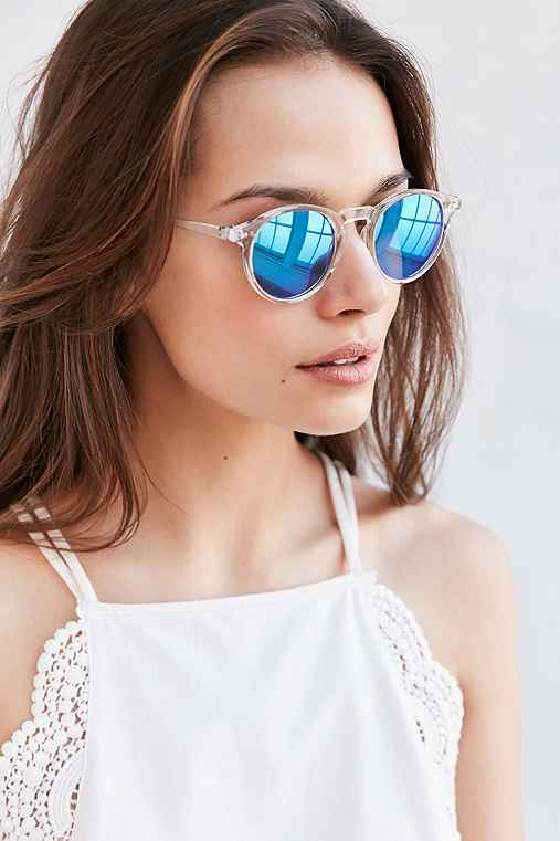 Clear Sky Round Sunglasses,GREEN,ONE SIZE