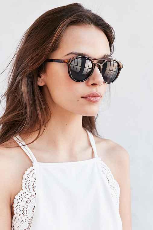 Moon Shade Plastic Aviator Sunglasses,BROWN,ONE SIZE