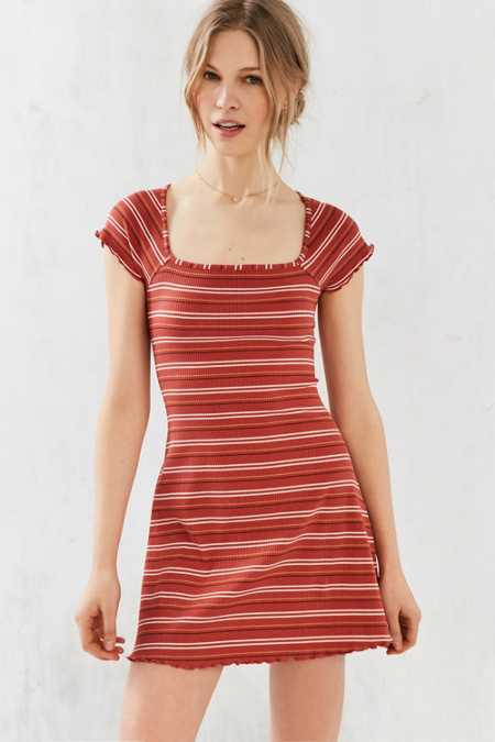 BDG Gretel Striped Square-Neck Mini Dress