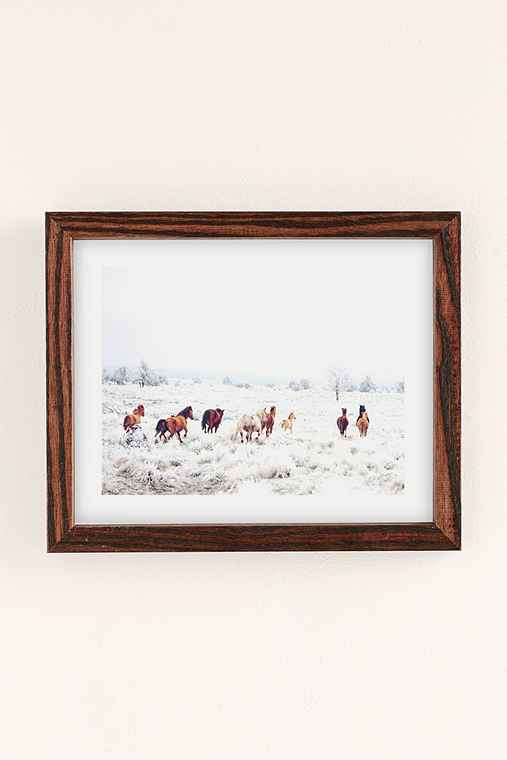 Kevin Russ Winter Horses Art Print,WALNUT WOOD FRAME,30X40