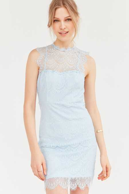 Bardot Braxton Lace High-Neck Mini Dress