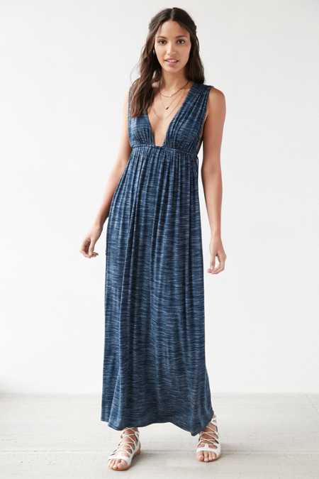 Silence + Noise Plunging Spacedye Babydoll Maxi Dress