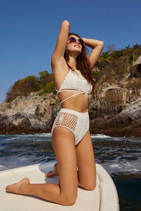 Somedays Lovin Daphne Crochet High Neck Bikini Top