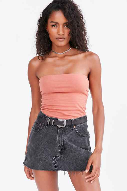 Silence + Noise Tal Strapless Top,RED,L