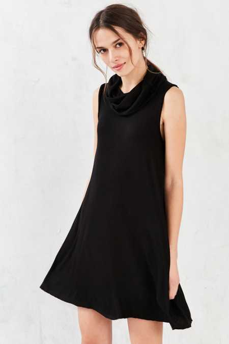 BDG Ribbed Cowl-Neck Mini Swing Dress
