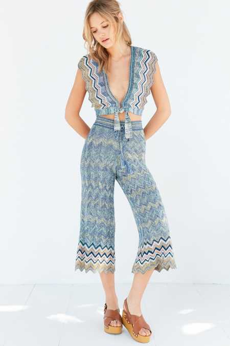 Ecote Chevron Sweater-Knit Culotte Pant
