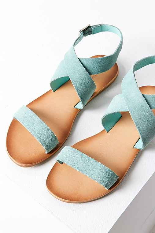 Louie Suede Ankle Wrap Sandal,MINT,10