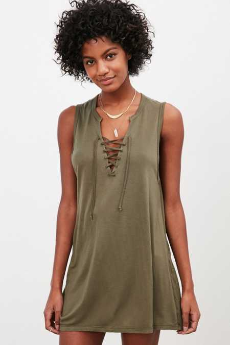 Truly Madly Deeply Varsity Lace-Up Tunic Tank