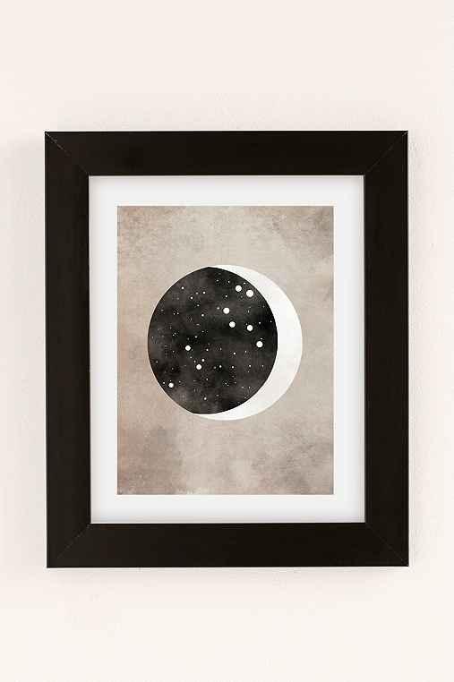 Claire Goodchild Moon & Stars Leo Art Print,BLACK MATTE FRAME,18X24