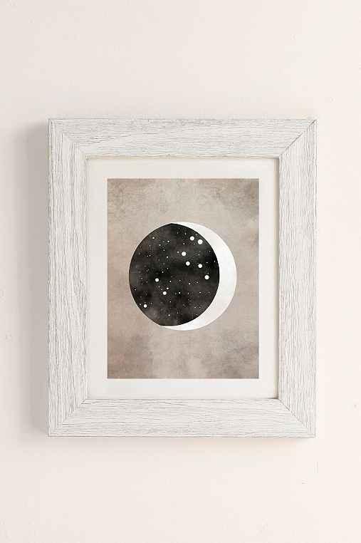 Claire Goodchild Moon & Stars Leo Art Print,WHITE BARNWOOD,13X19