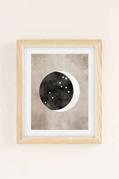 Claire Goodchild Moon & Stars Leo Art Print,NATURAL WOOD FRAME,8X10