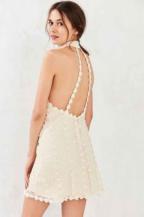 Ecote Daisy Lace Mock-Neck Mini Dress