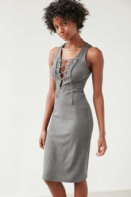 Silence + Noise Grommeted Lace-Up Midi Dress