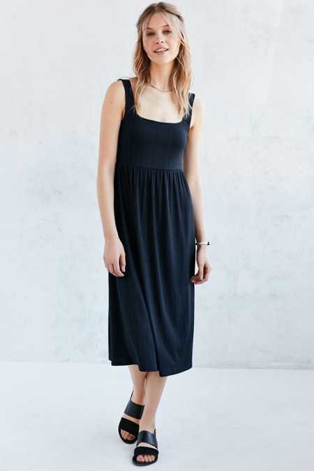 Silence + Noise Square-Neck Midi Dress