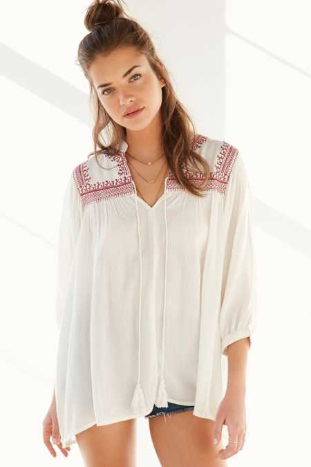 Angie Embroidered Yoke Tunic Blouse