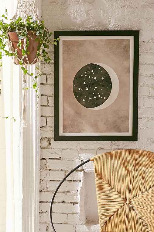 Claire Goodchild Moon & Stars Gemini Art Print,BLACK MATTE FRAME,8X10