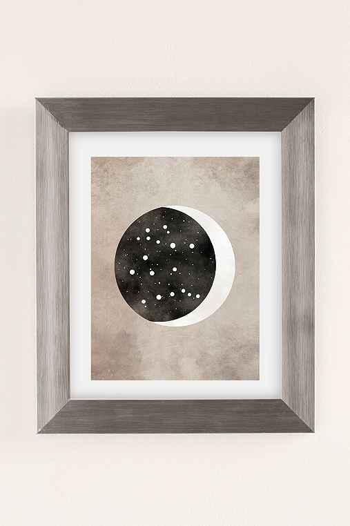 Claire Goodchild Moon & Stars Gemini Art Print,SILVER MATTE FRAME,13X19