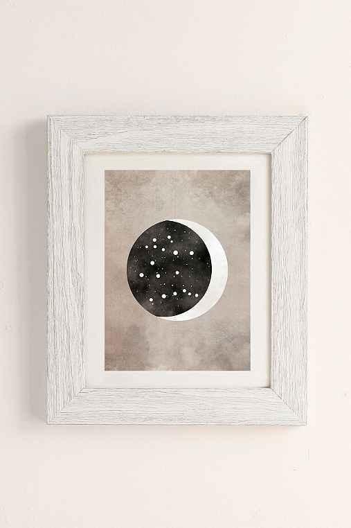 Claire Goodchild Moon & Stars Gemini Art Print,WHITE BARNWOOD,13X19