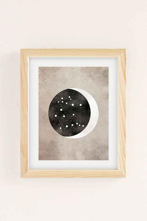Claire Goodchild Moon & Stars Gemini Art Print,NATURAL WOOD FRAME,8X10