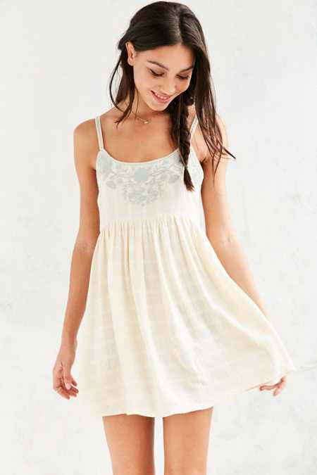 Kimchi Blue Snow White Embroidered Babydoll Mini Dress