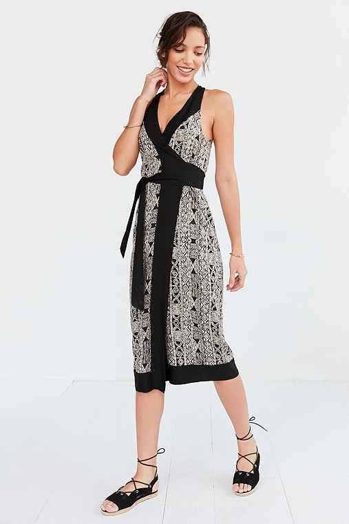 Ecote Whitney Print Wrap Midi Dress,BLACK & WHITE,S