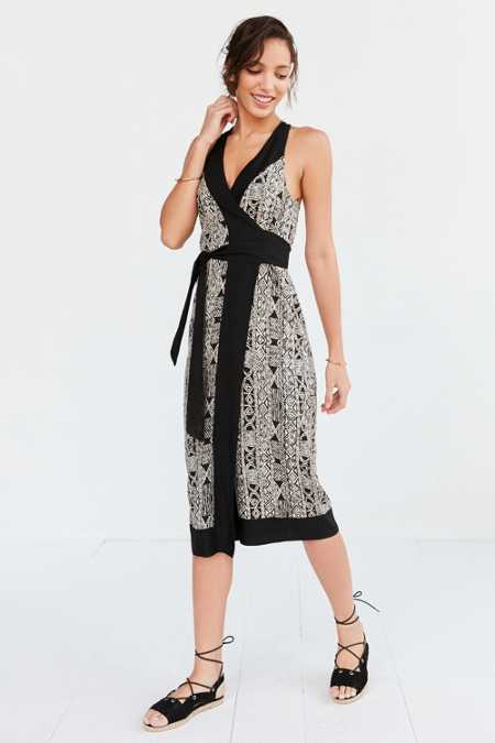 Ecote Whitney Print Wrap Midi Dress