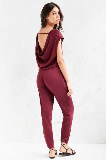 Silence + Noise Open Back Cupro Knit Jumpsuit
