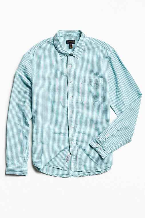 CPO Gingham Linen Dress Shirt,BLUE MULTI,S