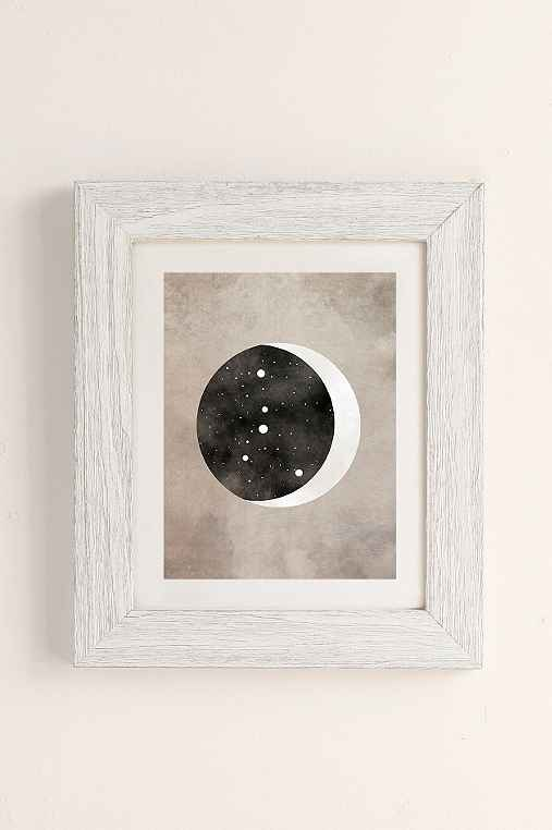 Claire Goodchild Moon & Stars Cancer Art Print,WHITE BARNWOOD,18X24