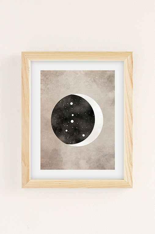 Claire Goodchild Moon & Stars Cancer Art Print,NATURAL WOOD FRAME,18X24