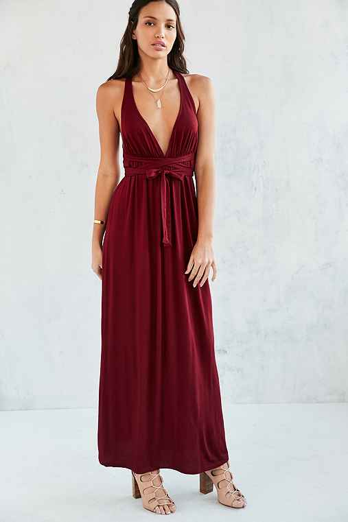 Ecote Strappy Back Wrap Maxi Dress,MAROON,XS