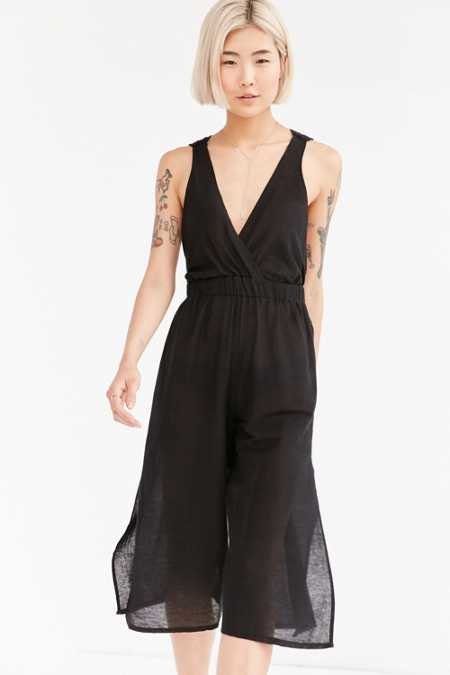 BOG Collective Plunging Split Leg Jumpsuit