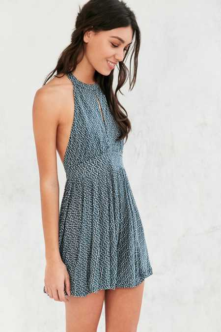 Ecote Patterned High-Neck Keyhole Romper