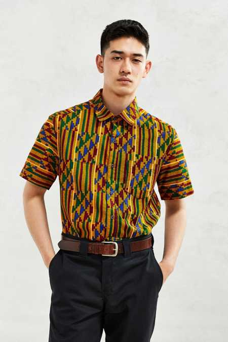 Della Batik Tile Print Short-Sleeve Button-Down Shirt