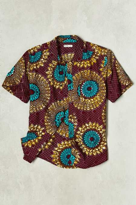 Della Batik Circle Print Short-Sleeve Button-Down Shirt