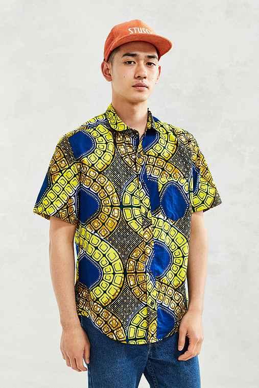 Della Batik Wave Print Short-Sleeve Button-Down Shirt,BLUE,XS