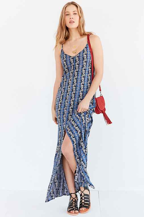 Ecote Linear Print Maxi Dress,BLUE MULTI,S