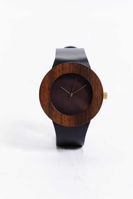 Analog Leather & Blackwood Watch