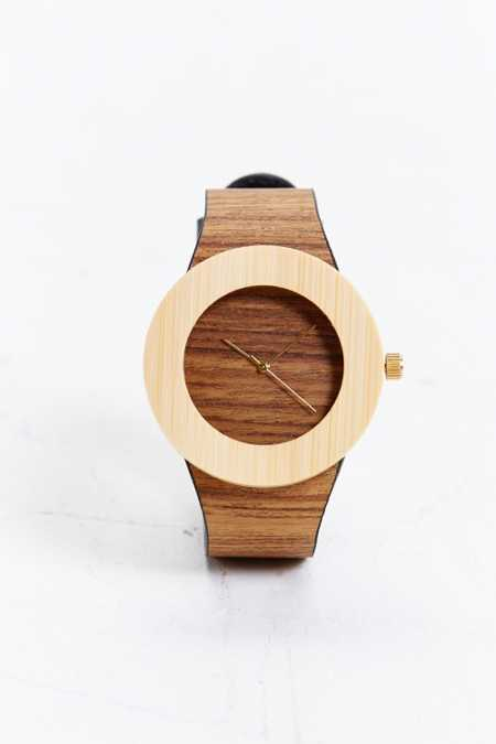 Analog Teak & Bamboo Watch