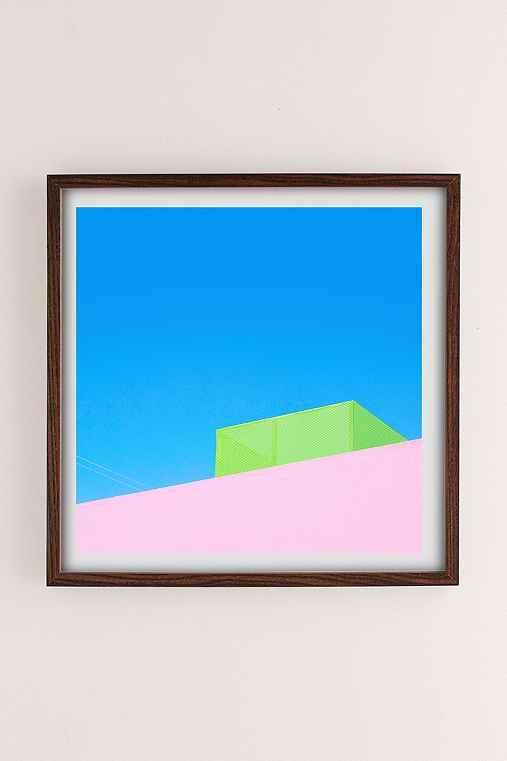 George Byrne Pink & Green House Art Print,WALNUT WOOD FRAME,30X30