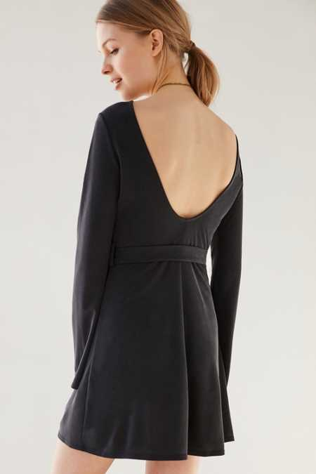 Ecote Bell-Sleeve Scoopback Mini Dress