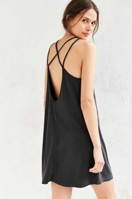Silence + Noise Strappy-Back Cupro Mini Dress