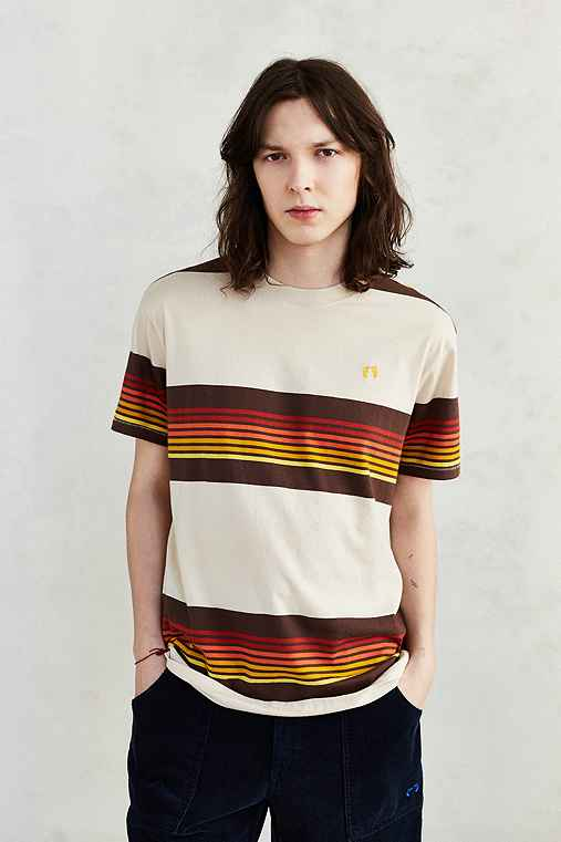 Hang Ten Cowels Striped Tee,TAUPE,S
