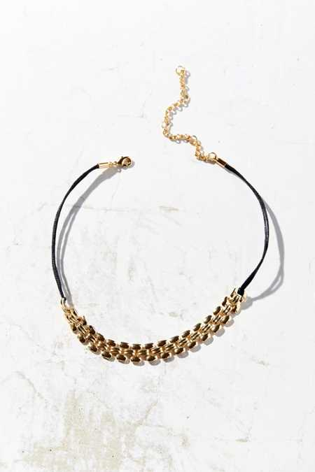 Lourdes Cord And Chain Choker Necklace